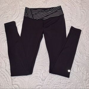 Lululemon black leggings with striped waist